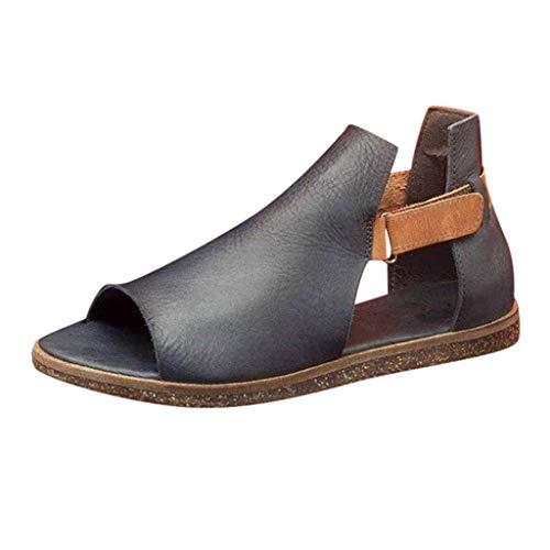 MOTOCO Sommer Sandalen Damen Mode Retro Vintage Flach Peeptoe Schnalle Klett Sandalen Casual Knöchelschuhe für Frauen(38,Schwarz)