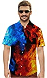 Mens 3D Short Sleeve Shirt Guy Halloween Button Down Holiday Mardi Gras Party Male Summer Funny Cloth Cool Blue Tee Tops Shirts