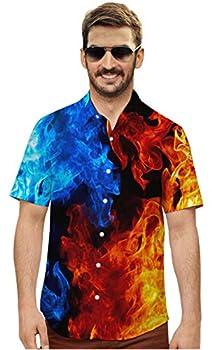 Mens Button Down Shirt Red Gold Black 3D Print Short Sleeve Halloween T Shirts Outfits Men Teen Boy Polo Tee Dude Summer Clothing
