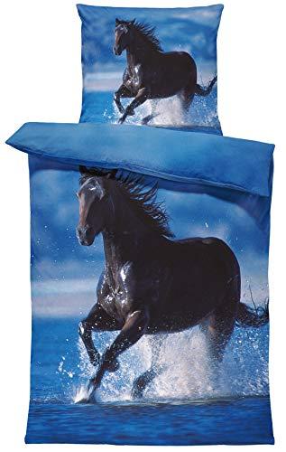one-home Pferde Bettwäsche 135x200 cm Pferd im Wasser schwarz blau Microfaser Wende Set