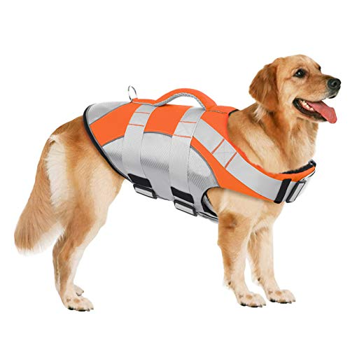 SUNFURA Pet Life Jackets, Summer Dog Float Coat with Reflective Strips and Rescue Handle, Adjustable Ripstop Pet Life Vest for Small, Medium, Large Dogs(Orange,XL)
