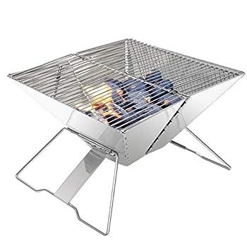 EYEPOWER Barbecue Pliant au Charbon Arkansas 30x30cm pour grillades en Plein air Camping Petit Portable Compact en Acier INOX