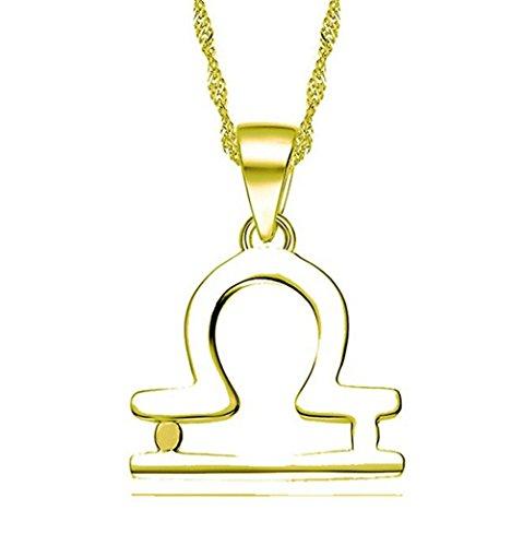 Hacool 925 Sterling Silber Personalisierte 12 Sternbild-Horoskop-Tierkreis-Zeichen-hängende Halskette (Waage)