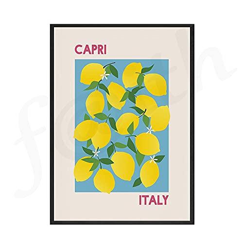 Mercado de flores impresiones Vintage póster lienzo pintura Italia Capri España Valencia impresión pared arte imagen sala de estar decoración del hogar D 60x80cm