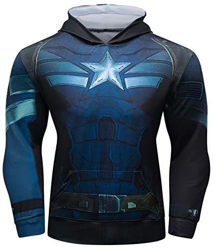 Cody Lundin, Felpa da uomo con cappuccio, aderente, motivo supereroe, per fitness e sport, stile casual, abbigliamento per esterni, E, XL