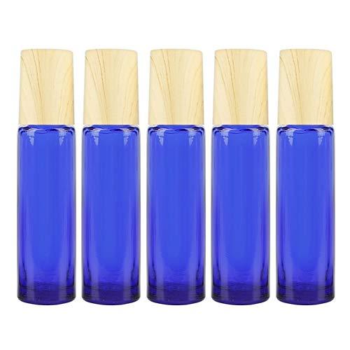 DDSP 5 botellas de aceite esencial enrollables en acero inoxidable, masajeador de bolas de rodillo para crema de ojos, perfumes, botella vacía, rellenable, 10 ml (color: azul, material: vidrio)