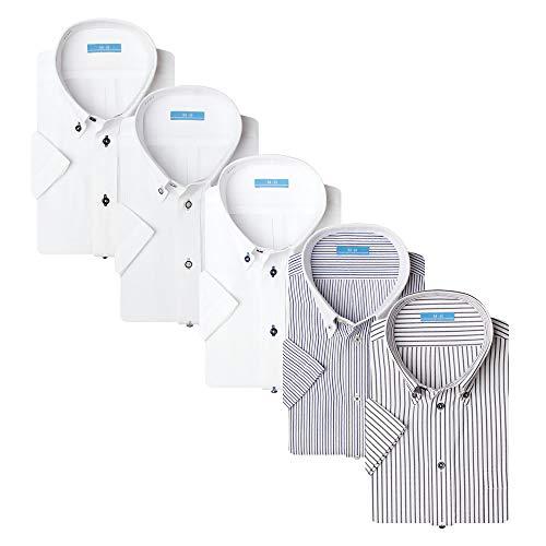[アトリエサンロクゴ] ワイシャツセット 半袖 ワイシャツ 5枚セット 形態安定 クールビズ メンズ イージーケア 豊富なデザイン sa02 Bset-SS-19 L(首回り41cm)