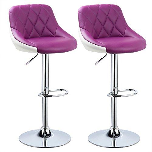 WOLTU BH30vl-2 Design 2 farbig Barhocker mit Griff, 2er Set, stufenlose Höhenverstellung, verchromter Stahl, Antirutschgummi, pflegeleichter Kunstleder, gut gepolsterte Sitzfläche, violett+Weiss