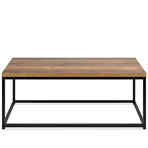 Best Choice Products 44in Modern Industrial Style Rectangular Wood Grain Top Coffee Table, Accent Furniture for Living Room w/Metal Frame, 1.25in Thick Tabletop