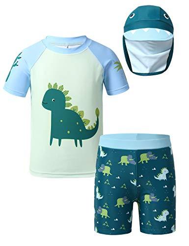 TiaoBug Kinder Jungen Badeanzug 3-Teilig Schwimmanzug aus Kurzarm Badeshirt, Badehose Bademütze UV-Schutz Bade-Set Bade Schwimm Kleidung 92-140 Kurzarm 104-110