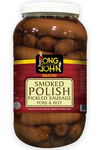 Long John Snacks Pickled Sausage - Gourmet Smoked Pickled Beef and Sausage Snack (Polish, (2) 72 Ounce)