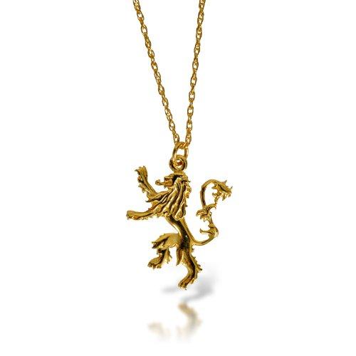 Game of Thrones Lannister Löwen Wappen Kette Silber vergoldet in prachtvoller Geschenkbox
