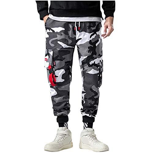 Herren Cargohose,ITISME Herren Hip Hop Hosen Streetwear Buckles Elastic Foot Multi Pocket LäSsige,Sommer Sportswear-Hosen Trainingshose Cargo Pants