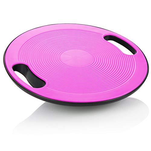 com-four® Balance Board - Wackelbrett für Fitnesstraining & Physiotherapie, Balancierbrett für Gleichgewicht & Stabilität, Rücken- und Sprunggelenktrainer (pink)