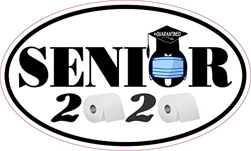 StickerTalk Quarantined Senior 2020 Vinyl Sticker, 5 inches by 3 inches