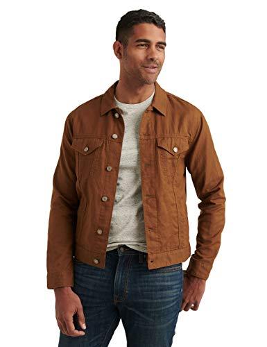 Lucky Brand Men's Long Sleeve Button Up Two Pocket Linen Blend Trucker Jacket, Copper, S