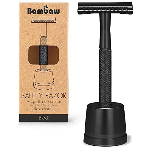 Maquinilla de Afeitar Clásica Color Negro   Maquinilla de Afeitar para Hombre   Con Soporte Cuchilla de Afeitar   Compatible con Todas las Hojas de Afeitar   Maquinilla de Afeitar   Bambaw