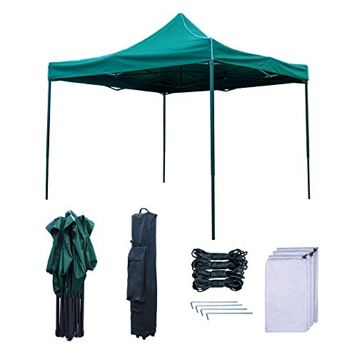 RNSSEZ Waterproof Pop up Gazebo 3m x 3m Heavy Duty Gazebo Tent, Fully Waterproof, Outdoor Garden Gazebo Shelter with Wheeled Carry Bag(Green)