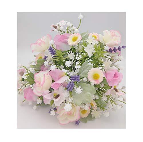 Radami Ramo de flores artificiales para primavera, diseño de pensamientos y rosas, lavanda