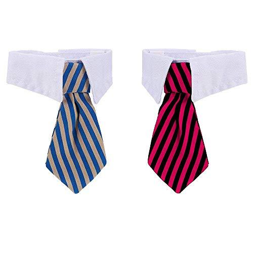 2 Stück Pet Krawatte, formelle Hund Katze Hals Bogen mit verstellbare Klettverschluss, Hunde Katzen Krawatte Justierbare Haustier Kostüm für Kleine Hunde Welpen Pflegen Zusätze - Halsbinde/Schlips