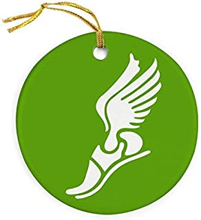 weewen Winged Foot Christmas Ornament Track & Field Porcelain Ornaments Green Xmas Wedding Keepsake Present Decor for Christmas Tree