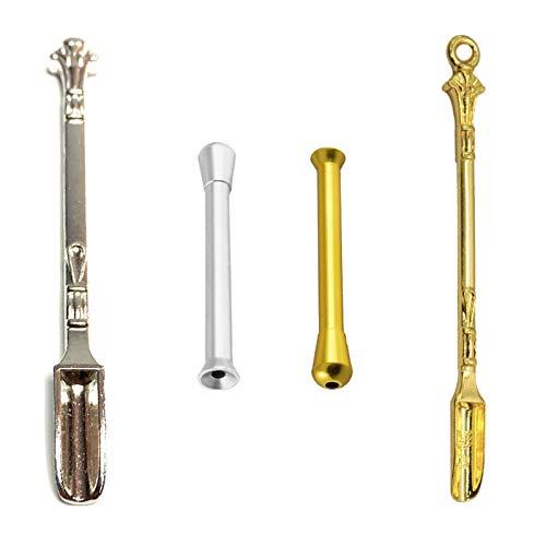 M&M Smartek - Accessori per tabacco da fiuto, Cucchiaio in alluminio in oro o argento, dispenser/ dosatore in plastica, carta Cromelock – Set a scelta, Carbonio, gold, Variation 5