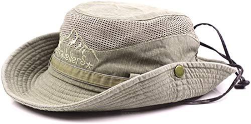 THENICE Unisex Cotton Sun Cap Outdoor Bucket Mesh Boonie Hat (S01-Khaki)