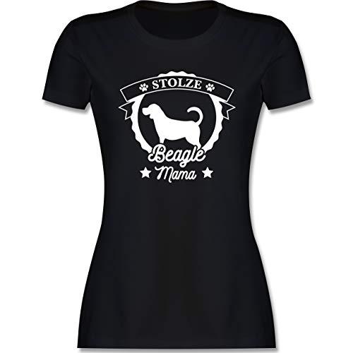Geschenk für Hundebesitzer - Stolze Beagle Mama - XL - Schwarz - autoaufkleber Beagle - L191 - Tailliertes Tshirt für Damen und Frauen T-Shirt