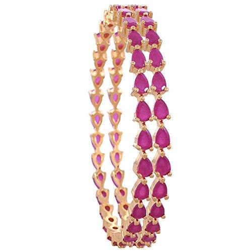 Ratnavali Jewels CZ Zirkonia Gold Tone Roter Birnen-Diamant Indische Bollywood Armreifen Armband Schmuck Frauen