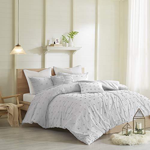 Urban Habitat Bettwäsche-Set aus 100 % Baumwolle, Pompon-Design, für alle Jahreszeiten, passende Kissenbezüge, dekorative Kissen, Full/Queen (223,5 x 233,7 cm), Brooklyn, Jacquard Grau