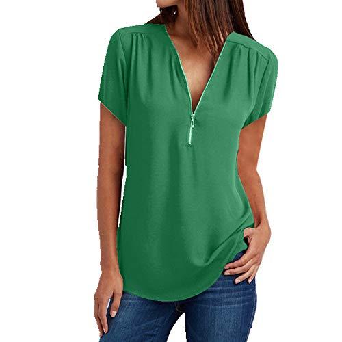 N\\P Damen-T-Shirt aus Chiffon, mit Reißverschluss, lockerer V-Ausschnitt, lockerer Strand-T-Shirt für den Sommer Gr. M, grün
