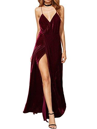 Verdusa Women's V-Neck Backless Wrap Velvet Cocktai Party Dress Burgundy S