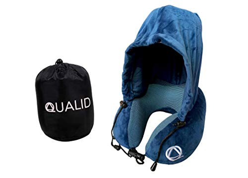 Qualid Travel Pillow with Hoodie- Ultra Soft Comfort, Strong Neck Support, Guaranteed Sleep with Light Blocking Hoodie, Travel and Home Use, Premium Memory Foam, Adjustable, One Size Fits All