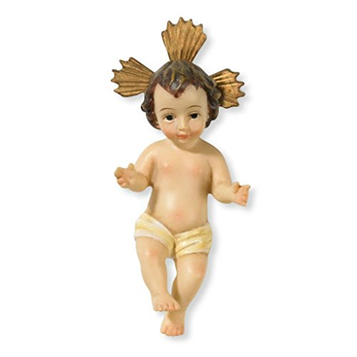 Baby Jesus Figurine with Story Card - Cast Resin Doll for Religious Christmas Nativity Scene Set or Table Top Display, 3.5 Inch