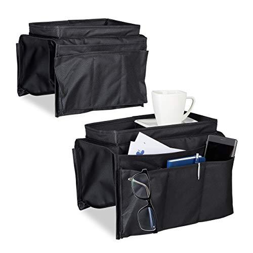 Relaxdays 2X Armlehnen Organizer, Sofatablett mit 6 Taschen, Armlehnentasche, Tablett, Sofa-Butler, schwarz, HBT: 22 x 18 x 32 cm