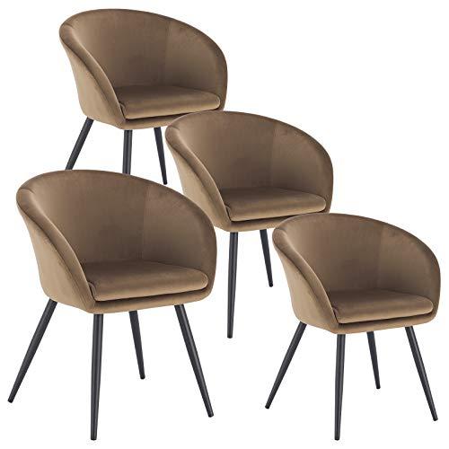EUGAD 0319BY-4 4X Esszimmerstühle Wohnzimmerstuhl Polsterstuhl Küchenstuhl mit Armlehne mit Beine aus Metall, Samt, Braun