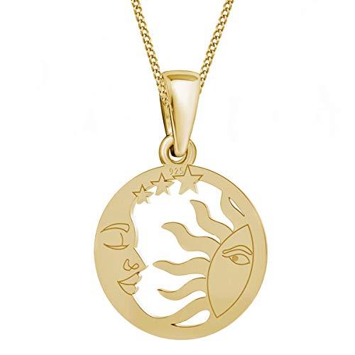 Sonne Mond & Sterne Anhänger mit Kette 925 Echt Silber Mädchen Damen Halskette (2) Gold, 50)