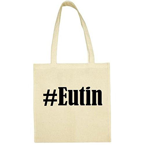 Tasche #Eutin Größe 38x42 Farbe Natur Druck Schwarz