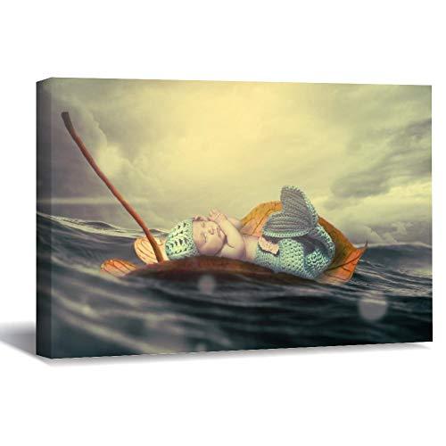 Lienzo enmarcado de madera para pared con imagen personalizada para bebé con ondas de agua, diseño de sirena, color joven, 36 obras de arte de pared para sala de estar, dormitorio, decoración de 20 x 30 cm