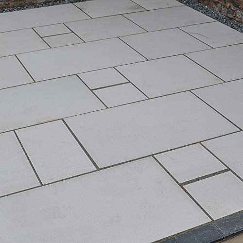 Kandla india natural gris plata arenisca texturizada arenisca jardín patio paquete tamaño mezcla azulejos losas banderas 11,52 m2 interior exterior piedra decorativa material de suelo DIY