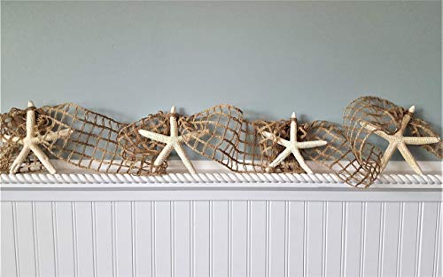 Beach Decor Starfish Christmas Garland, Nautical Decor White Starfish Christmas Garland, Nautical Netting Garland, 10 FEET, BROWN