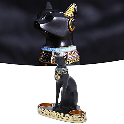 YOIM Decoración egipcia, candelabro de artesanía de Gato, candelabro de Estatua de Gato, candelabro Vintage para decoración de Oficina en casa