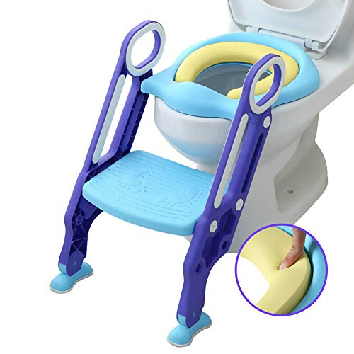 Mangohood Potty Training Toilet Seat with Step Stool Ladder for Boys and Girls Baby Toddler Kid Children Toilet Training Seat Chair with Handles Sturdy Wide Step (Blue Purple Upgrade Pu Cushion)