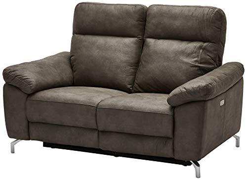 Ibbe Design Braun Stoff 2er Sitzer Relaxsofa Couch mit Elektrisch Verstellbar Relaxfunktion Heimkino Sofa Doha mit Fussteil, Federkern, 162x96x101 cm