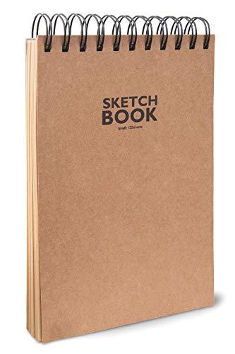 Honsell 33505 - Sketchbook Kraft Skizzenblock mit Spiralbindung, DIN A5, 120 Blatt, 100 g/m², robustes, recyclingfähiges Kraftpapier aus ungebleichten Naturfasern