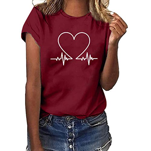 Short Sleeve Tee Blouse for Women,Amiley Womens Heartbeat Print Fashion O-Neck Casual Short Sleeve Blouses Tops T Shirts (X-Large, Wine)