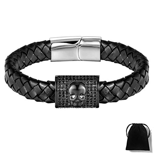 Preisvergleich Produktbild Square Pattern Micro Pave Cubic Zircon Leather Bracelet for Men Skeleton pulseira Masculina New Year,  Black Gun Plated, 18cm