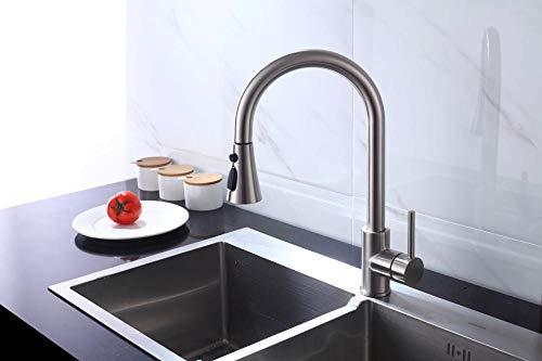 Keukenkraan met uittrekbaar type, wastafelkraan met 360 graden draaibaar, telescopisch draaibare douchekraan D.