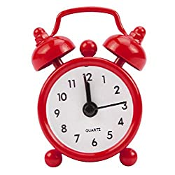 SoundsBeauty Classic Home Cute Battery Operated Analog Mini Round Bedside Desk Alarm Clock - Red