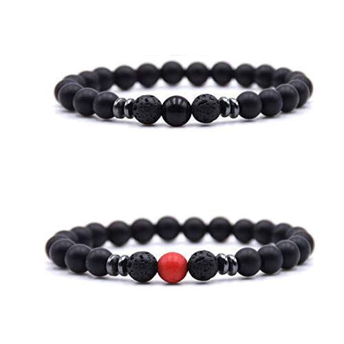 2/6 Pack Magnet Therepy Anklet,Adjustable Weight Loss Magnet Anklet,Anti-Swelling Black Obsidian Anklet,For Women Men,Relieve Arthritis Headache Stress (2pcs)